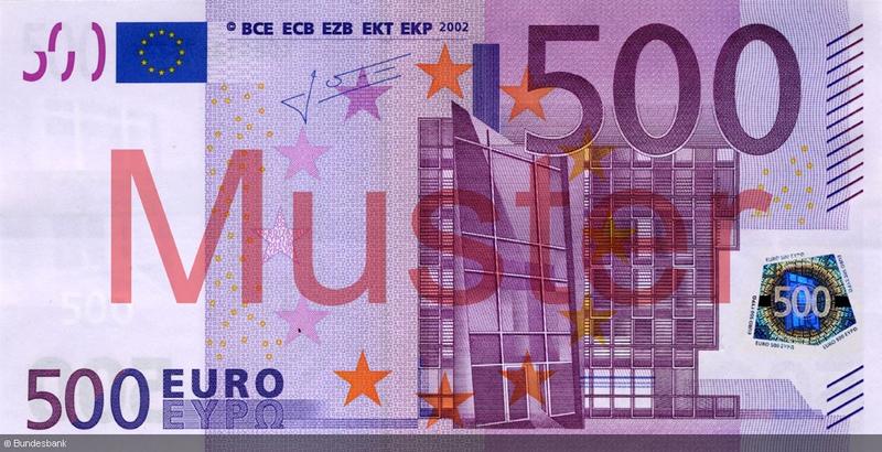 Größe 500 Euro Schein